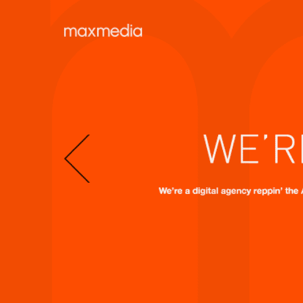 <strong>Web Design</strong>. Portfolio site concept for Atlanta digital agency Maxmedia.